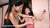Brazilian teen bdsm and lesbian spanking of crying slave Cary in hardcore lezdom