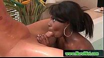 Nick Manning & Tatiana Foxx - Ebony masseuse sucking white cock in jacuzzi