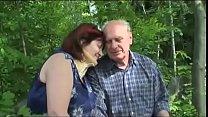 Old Mature couple fucks outdoor