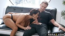 Gigantic boobs MILF catches panty thief and fucks him preview image