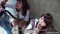 Two slutty Asian sluts sucking dudes on the stairwell - 69VClub.Com