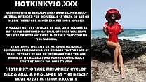Hotkinkyjo take mrhankey cyclop dildo anal & prolapse at the beach