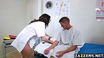 Horny Nurse sucking her patients big cock