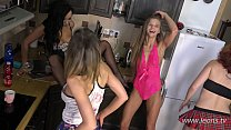 Daphne and other girls are having a big fun in the kitchen