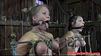 Restrained mouth gagged subs toyed in trio video