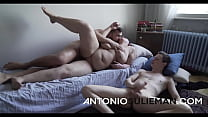 A cuckold guy binds his naughty mother, tells her to Antonio, and plays with his mother's dick