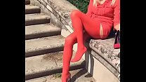 Pretty Milf in Red Dress and Nylons Part 1- www.prettyfeetvideo.com
