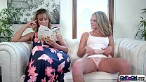 Stepmom slides her hand in stepteens pants while kissing her