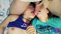 Little bit balls licking and lesbian kissing