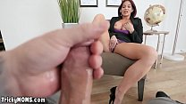 Mature stepmom fingering herself in front of son