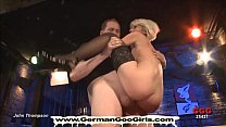 Dirty bukkake blondie gets shared between a gro... Thumbnail