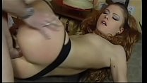 Cute young redhead in stockings gets ass fucked, takes a hot load on her ass