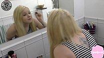 Cute teen gets fucked hard in her mums bathroom