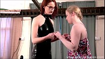 Satine Spark bizarre lesbian bondage and lezdom humiliation of boot licking blonde leather masked submissive