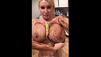 Huge 34JJ  tits messy food fetish play - TheCamBoss.net