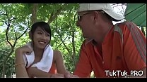 Cum-thirsty thai girlfriend can't live without to take up with the tongue a big love stick