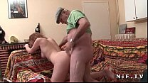 French slut sodomized in threesome with Papy Voyeur
