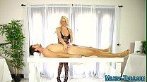 Massage therapist licking