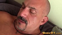 Bald daddy shoves his big raw cock all the way in lovers ass