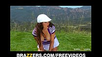 Sexy natural-tit brunette Karina White rides big-dick outdoors preview image