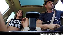 We find Spanish stud Nacho Vidal and adorable, tanned brunette Amirah Adara at a fast food drive-thru window. Amirah shows what she's hungry for, eating Nacho's thick dick as he orders lunch