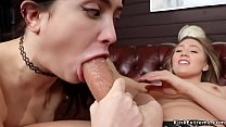 Brunette sucks and anal fucks in lezdom