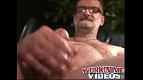 Kinky old man strokes nipples while jerking dick solo