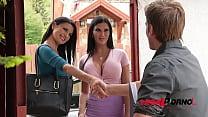 Busty lesbian bombshells Jasmine Jae & Ania Kinski swallow realtor's cock GP251
