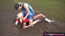 Hairy lesbian soccer player licked after training thumbnail