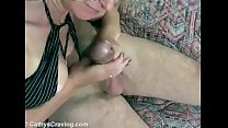 Cathy Sucking with passion a big mushroom cock