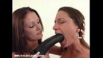 Hailey fucking Alissa with a big black brutal dildo