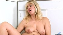 Cougar Masturbation in Kitchen
