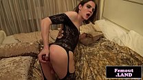 Beautiful trap in lace toying herself