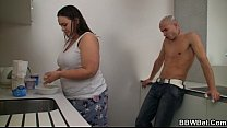 Horny guy bangs cooking BBW