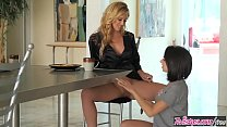 Blonde milf (Cherie DeVille) eats (Darcie Dolce) for breakfest - Twistys thumbnail
