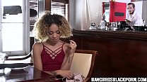 Black babe hooking up with the waiter in the restroom