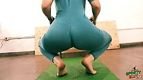 panna master ⁃ Bubble butt tiny waist teen has big cameltoe in lycra bodysuit. thumbnail