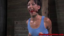 Restrained sub has nipples punished