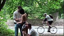 Cute petite teen girl fucked by 2 big dicks in public gang bang threesome orgy