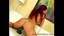 solo redhead bitch playing with big black dildo