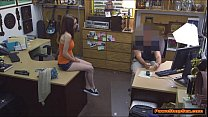 Busty teen Jenny gets a taste of the Pawnshop owner big cock