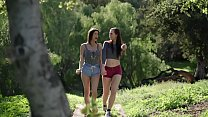 Two chicks get muddy during lesbian scene