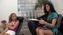 Hot Brunette MILF Therapist helps the tight teen gets an orgasm in return