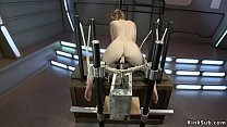 Tied solo brunette machine banged