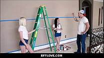 13330 Three Hot Interracial Teen Best Friends Seduce Painter POV preview