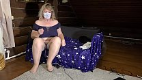 Mature milf in a sex chat shows a plump figure and changes clothes. Big tits, hairy pussy, juicy booty and fat belly in front of webcam. صورة