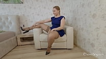 Upskirt fetish. stockings, heels and buttplug 2. The chair