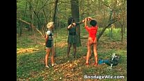 Some guy is tied up in the woods thumbnail