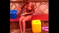 Girlfriend alicia bathing on verandah
