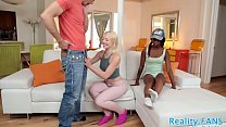 Ebony stepdaughter rides fat cock Preview